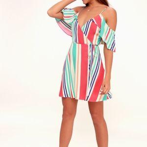 NWT Lulu's Caliente stripe off shoulder wrap dress